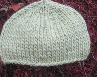 Gift for Mothers Day - Ladies handknitted beanie hat in green
