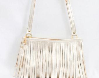 Metallic Leather Crossbody - Gold Fringe Purse - Gold Leather Boho Bag - Metallic Leather Fringe & Tassel Handbag