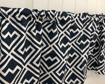 Navy Blue and White Geometric modern curtain valance