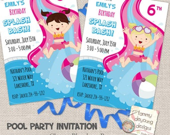 Girls' Pool Party Invitation, Splash Bash Party Invite, Kid's Birthday Invitations, Summer Birthday, Swimming Party, personalized, you print