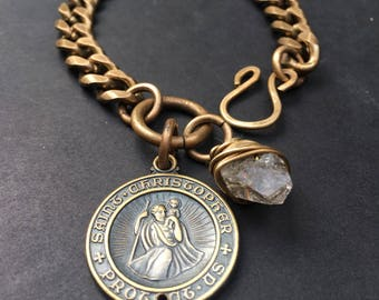 Chain Bracelet / Saint Christopher / Religious Jewelry /Daniellerosebean /Unisex Bracelet / Brass Bracelet / Charm Bracelet
