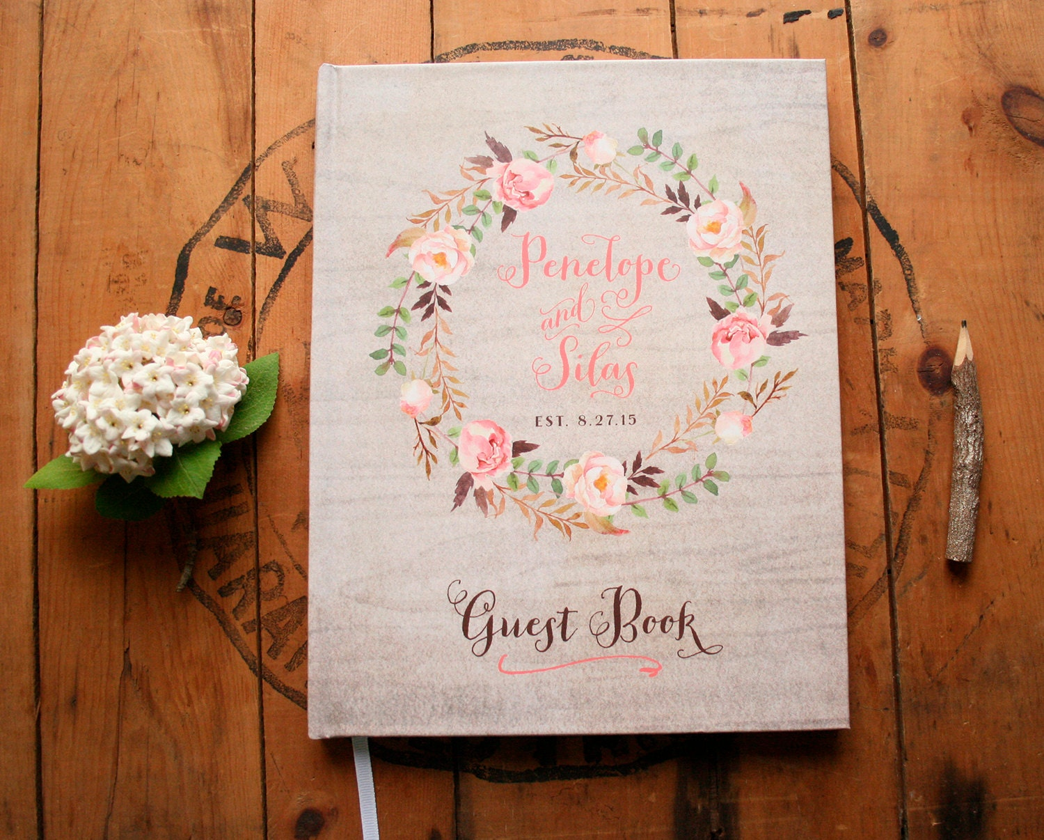 Boho Guest Book Wedding Guestbook Floral Guest Book