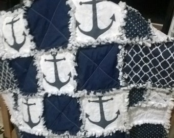 Navy Anchor Quilt Blanket