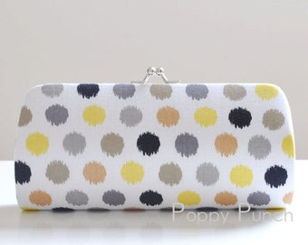 Spa Dot in Citron..Small Clutch Purse