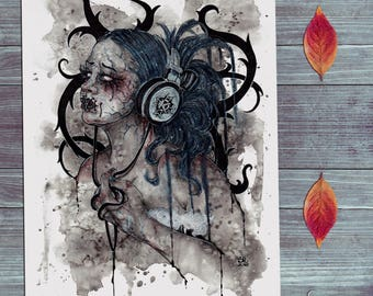 Kamelot #MyTherapy - Original Watercolours Sketch - Gothic Dark Music Surreal