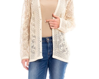 1970s Paisley Crocheted Cardigan Size: S/M