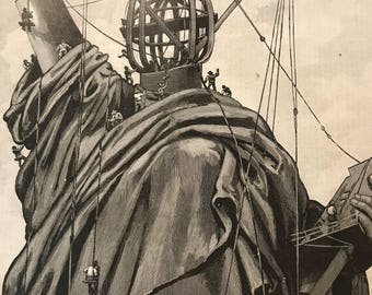 "Artist Unknown ""New York-Preparing the Statue of Liberty on Bedloe's Island"" October 9, 1886, 15 x 22 inches, Excellent Condition!"