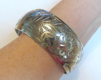 "Pretty Etched Silver Plate Floral Bangle Bracelet, 2.6 Diameter, 1.1"" Tall"