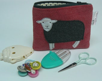 Herdwick Sheep applique zipped pouch, coin purse, notions pouch