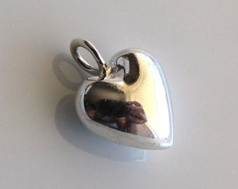 Sterling Silver Small Shiny Puffed Heart Charm