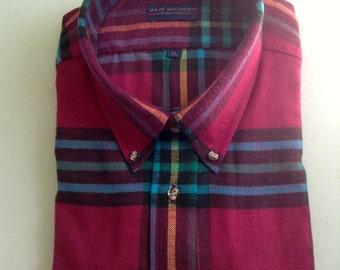 Van Heusen button down collar, Men's SHIRT.  Size XL.  All Cotton Flannel, Plaid.  New Old Stock.