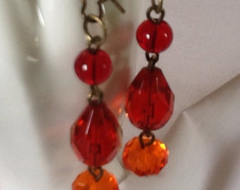 Red Hot Crystal Earrings - Czech Faceted Cut Glass Fire Orange Teardrop Beaded Dangly Earrings