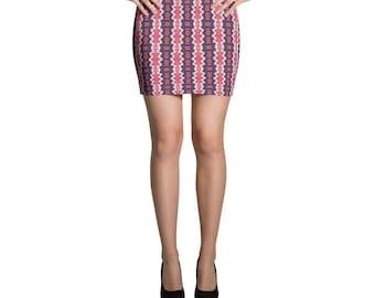 Pink and Purple Aztec Pattern Mini Skirt