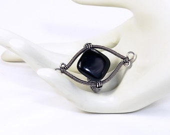 Artisan Sterling Silver and Black Agate Artisan Wire Wrapped Ring