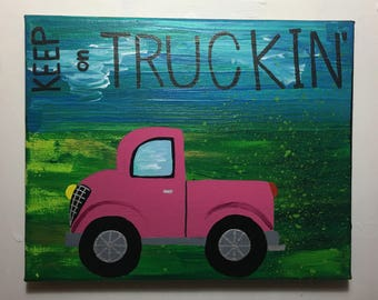 Painting: Keep trucking-pink truck