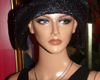 Antique style Black Flapper Hat Cloche 1920 Theme Personalized   Headdress