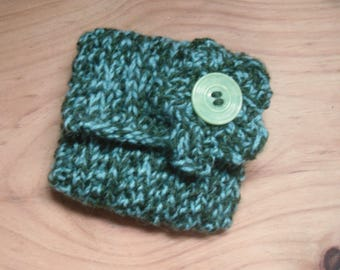 Knitted Green Coin Purse, Change Purse Hand Knitted with Flower Decoration