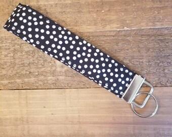 Black and White Polka Dot Key FOB