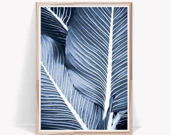 Navy Blue Print,Leaf Print,Tropical Leaf Print,Modern Art,Wall Art Prints,Blue Prints,Navy Blue Prints,Leaf Wall Art,Wall Decor,Navy Blue