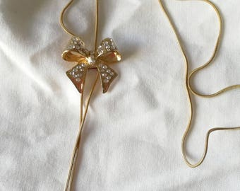 Bow and rhinestones Pendant Necklace - Golden