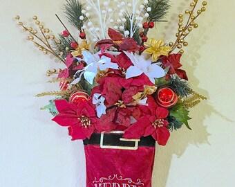 Red Christmas Stocking, Christmas Stocking, Christmas Floral Arrangement, Christmas Wall Decor, Christmas Decorations, Red Poinsettias