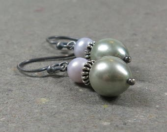 Green Pearl Earrings Lavender Pearls Oxidized Sterling Silver Gift for Girlfriend