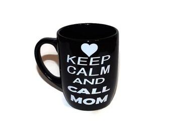 "Vinyl ""Keep Calm and Call Mom"" mug, Black mug white vinyl"