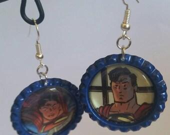 Superman earrings - comic book jewelry - Superman jewelry - DC comics accessories - Superman accessories - statement earrings - geek chic