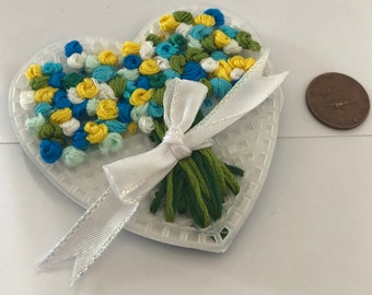 Blue bouquet Heart magnet, flowers, bouquet, Hand stitched heart magnet, heart embroidery, gift,