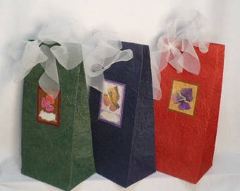"Handmade wine bags, decorated handmade wine bags, handmade mulberry wine bags 5"" x 12"" x 4"", 3 bags/pack"