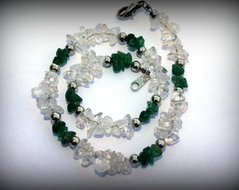 Aventurine Bracelet - Aventurine Anklet - Emerald Green Aventurine And Quartz Crystal Bracelet Anklet - Natural Healing Gemstone Jewelry