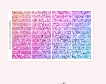 UNICORN Glitter Header Planner Stickers