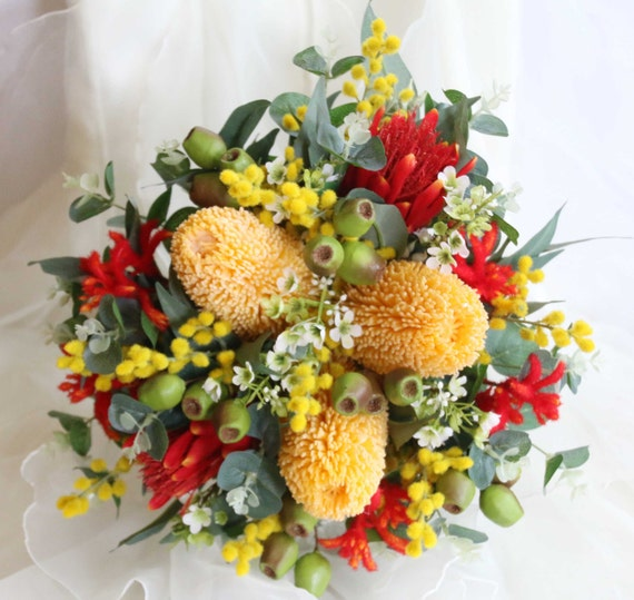 Australian native wedding bouquet Banksia kangaroo paw