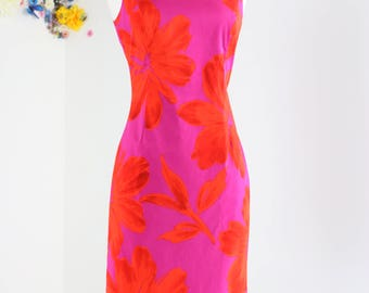 1990s Dress - Vintage Pink Floral Sheath Dress - S/M Sz 6 - Classic Jones New York - Sleeveless Summer Spring Dress