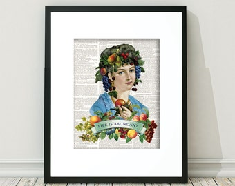 Vintage Fruit, Fruit Art, Fruit Prints, Fruit headdress, Carmen Miranda, Lady with fruit on head, Lady with fruit on her head, Fruits , Art