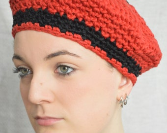 Red and black cotton beret, hand crocheted.