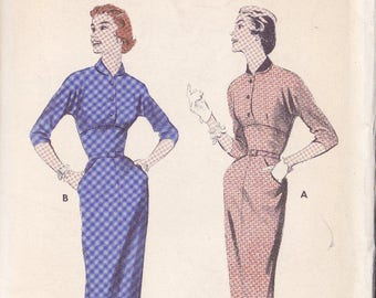 Vintage Misses Slimline Dress Pattern ~ Butterick  No.7133 Size 14 ~ Figure Flattering Midriff  ~ All In One Sleeves ~  Cut But Complete