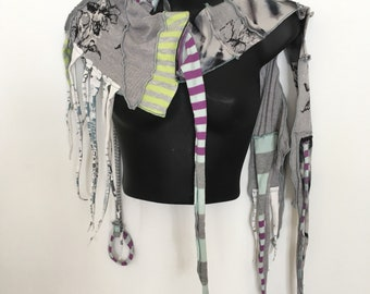 Benefactor of Breath...Art Scarf, OOAK, Reconstructed, Recycled,