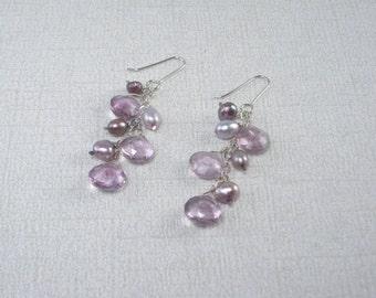 Amethyst Purple Pearl Cascade Earrings Long Purple Silver Dangles Purple Gemstone Earrings Amethyst Gemstone Cluster Earrings Bridal Cascade