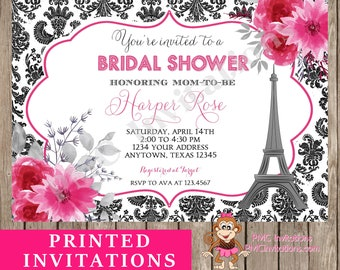 Custom PRINTED Paris Bridal Shower Invitation, Pink Floral Damask Paris Invitation, Eiffel Tower - 1.00 each with envelope