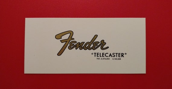 Custom Fender 65-66 Telecaster Waterslide Decal Set, Gold Metallic