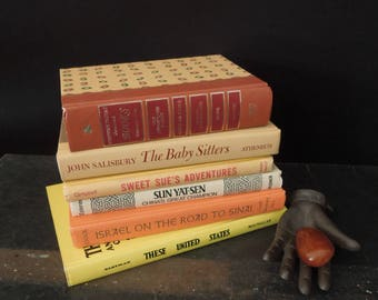 Sunflower Yellow Book Stack - Orange Rust/Brown Books for Decor - Literature Gift Vintage Book Bundle - Books by Color