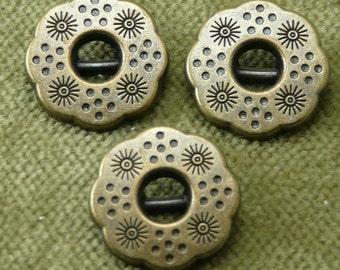 Antique Brass Dotted Floral Sun Button  5897 A5