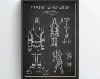 1881 Diving Apparatus Patent Poster, Diving Suit print, Diving Suit Poster, Patent Art Print, Patent Print, Home Decor, Gift Idea, NA34P