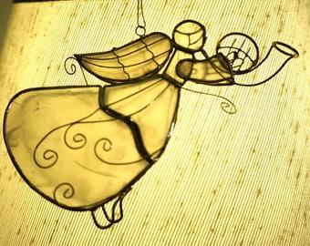 "Capiz Shell; Wire Angel Ornament; Approx. 5""L x 2.5""H; Beautiful Brass Wire Work !!!"
