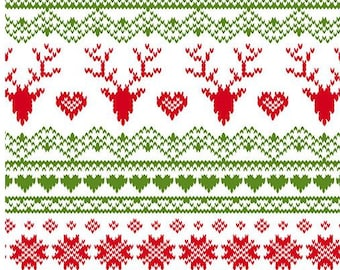 SALE Girl Charlie Jolly Holiday Knit - Fairisle Deer Red/Green  - Remnant