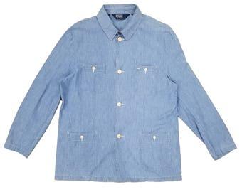 Vintage Ralph Lauren POLO Chambray Button Top Shirt Mens Size XL
