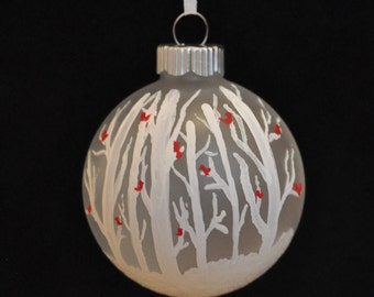 Cardinals in Trees Hand Painted Holiday Ornament