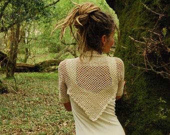 Fairy wedding White shrug, Pixie wear, Cream bolero, Party shoulder wrap, Lace coverup, Cropped cardigan, Shoulder warmer Her Boho clothing