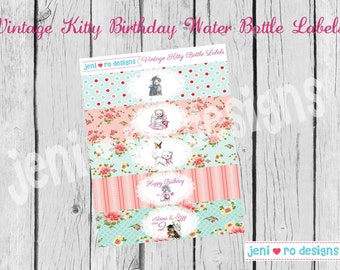 Vintage Kitty Party Printable Water Bottle Labels - Customized